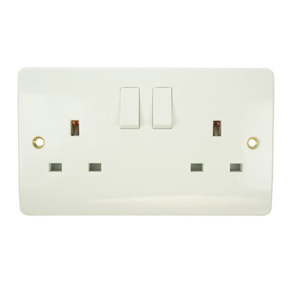 Double 13amp white pvc socket 1 large
