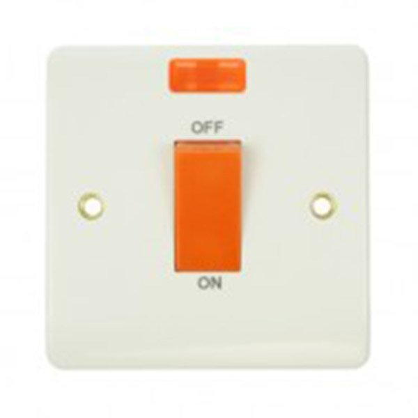 Single 45amp white pvc cooker switch with neon 1 compact